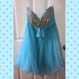 Blue Sherri Hill short formal dress